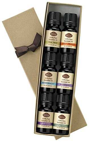 Essential-Oil-Gift-Set-100-Pure-Therapeutic-Grade-Great-for-Aromatherapy-10ml-Set-includes-Peppermint-Lavender-Sweet-Orange-Rosemary-Eucalyptus-Tea-Tree-0