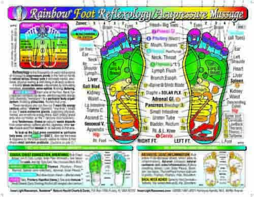 Rainbow Foot Reflexology Acupressure Massage Chart