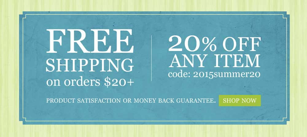 Free Shipping & 20% off ANY Item!!