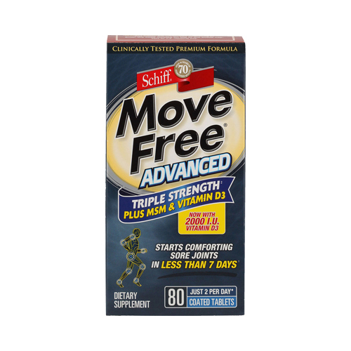 Schiff Move Free Advanced Triple Strength Plus MSM and Vitamin D3 - 80 Coated Tablets