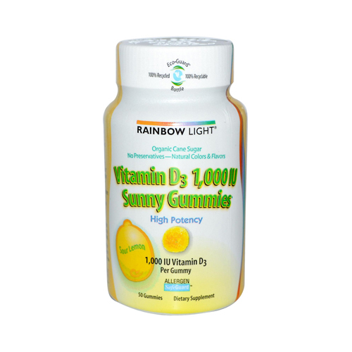 Rainbow Light Vitamin D Sunny Gummies Sour Lemon - 1000 IU - 50 Gummies