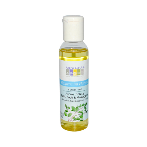 Aura Cacia Aromatherapy Bath Body and Massage Oil Peppermint Harvest - 4 fl oz