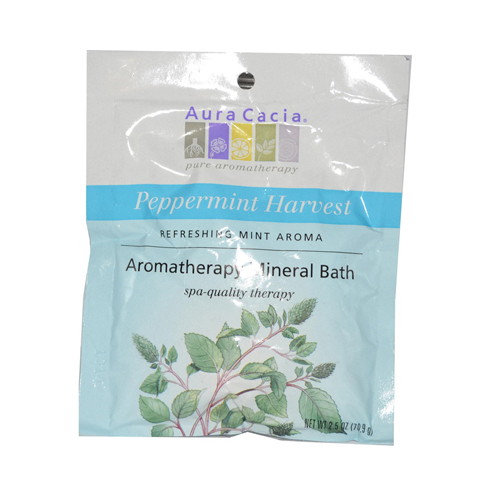 Aura Cacia Aromatherapy Mineral Bath Peppermint Harvest - 2.5 oz - Case of 6