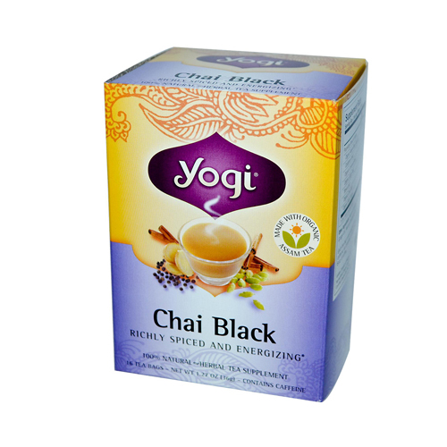Yogi 100% Natural Herbal Tea Chai Black - 16 Tea Bags - Case of 6