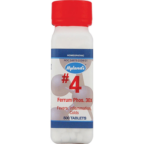 Hylands Homeopathic Number 4 Ferrum Phosphoricum 30X - 500 Tablets