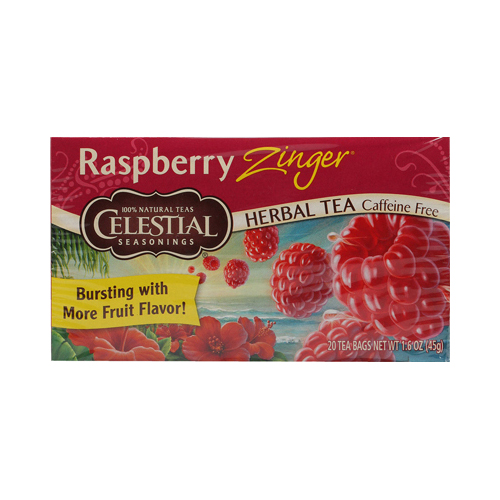 Celestial Seasonings Herbal Tea Caffeine Free Raspberry Zinger - 20 Tea Bags - Case of 6