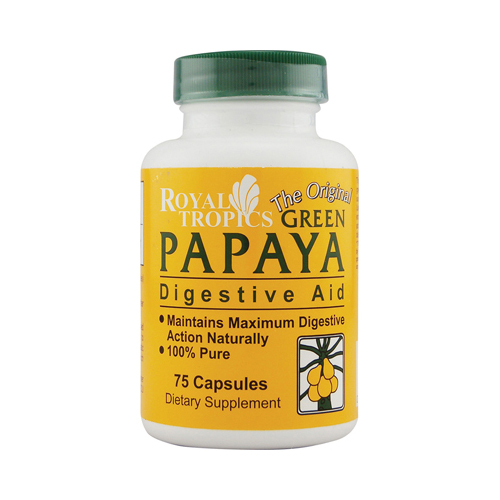 Royal Tropics The Original Green Papaya Digestive Aid - 75 Capsules