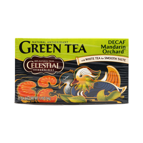 Celestial Seasonings Green Tea Caffeine Free Mandarin Orchard - 20 Tea Bags - Case of 6