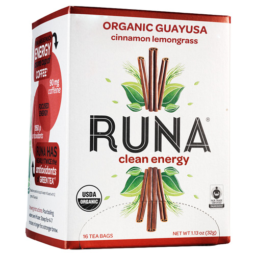 Runa Tea Organic Cinnamon Lemongrass Guayusa Tea - Case of 6 - 16 Bags