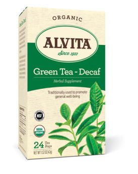 Alvita Organic Green Tea Herbal Supplement - Decaf - 24 Tea Bags