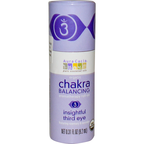 Aura Cacia Organic Chakra Balancing Aromatherapy Roll-on - Insightful Third Eye - .31 oz
