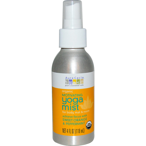 Aura Cacia Organic Yoga Mist - Motivating Sweet Organe and Peppermint - 4 oz