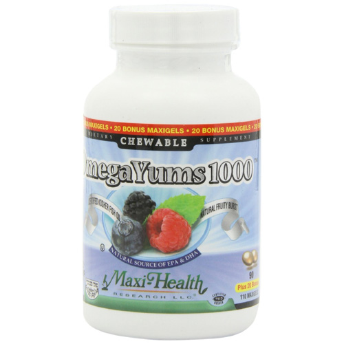 Maxi Health Kosher Vitamins Omega Yums - 1000 - Chewable - 110 Count