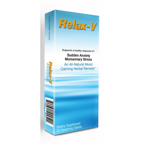 SandJ Nature Products Relax V - Sudden Anxiety and Momentary Stress - 20 Tablets