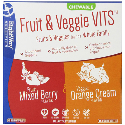 Rightway Nutrition Fruit and Veggie VITS - Brry and Orange - 2 ct - 30 tabs